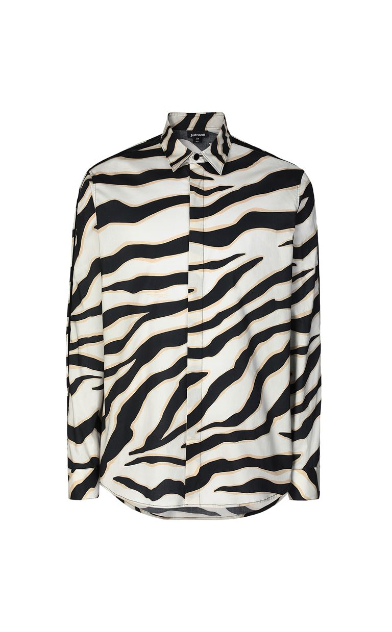 JUST CAVALLI Shirt with a zebra-stripe print Long sleeve shirt Man f