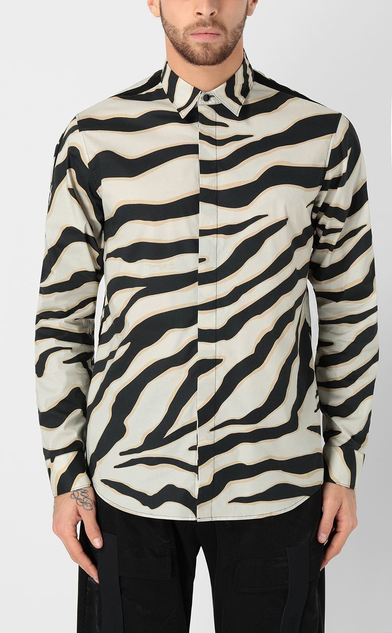 JUST CAVALLI Shirt with a zebra-stripe print Long sleeve shirt Man r