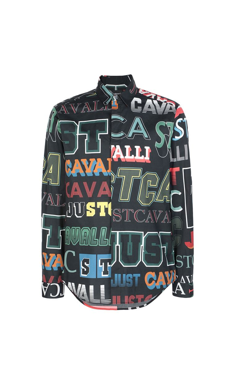 JUST CAVALLI Shirt with logo print Long sleeve shirt Man f
