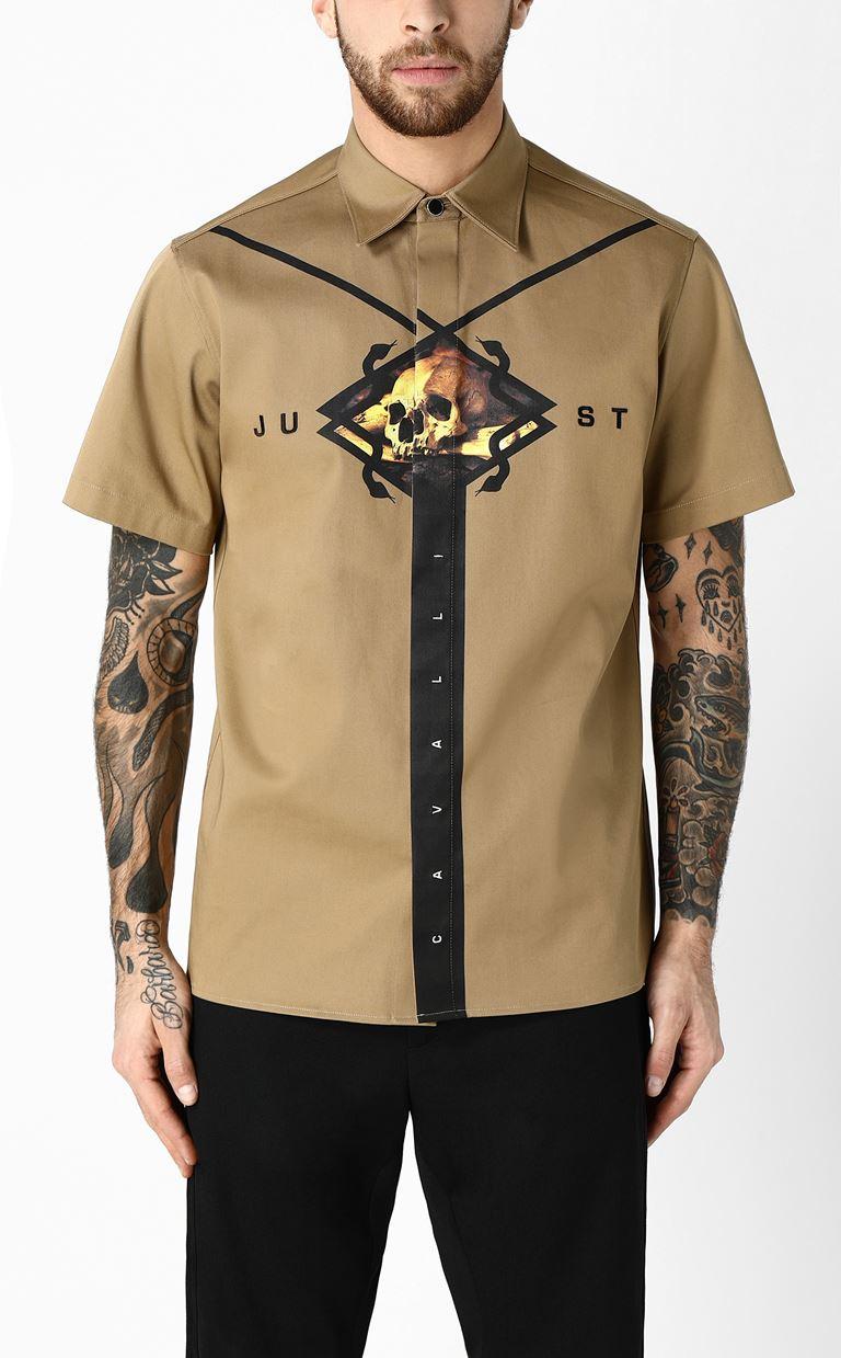 JUST CAVALLI シャツ プリント入り 半袖シャツ メンズ r