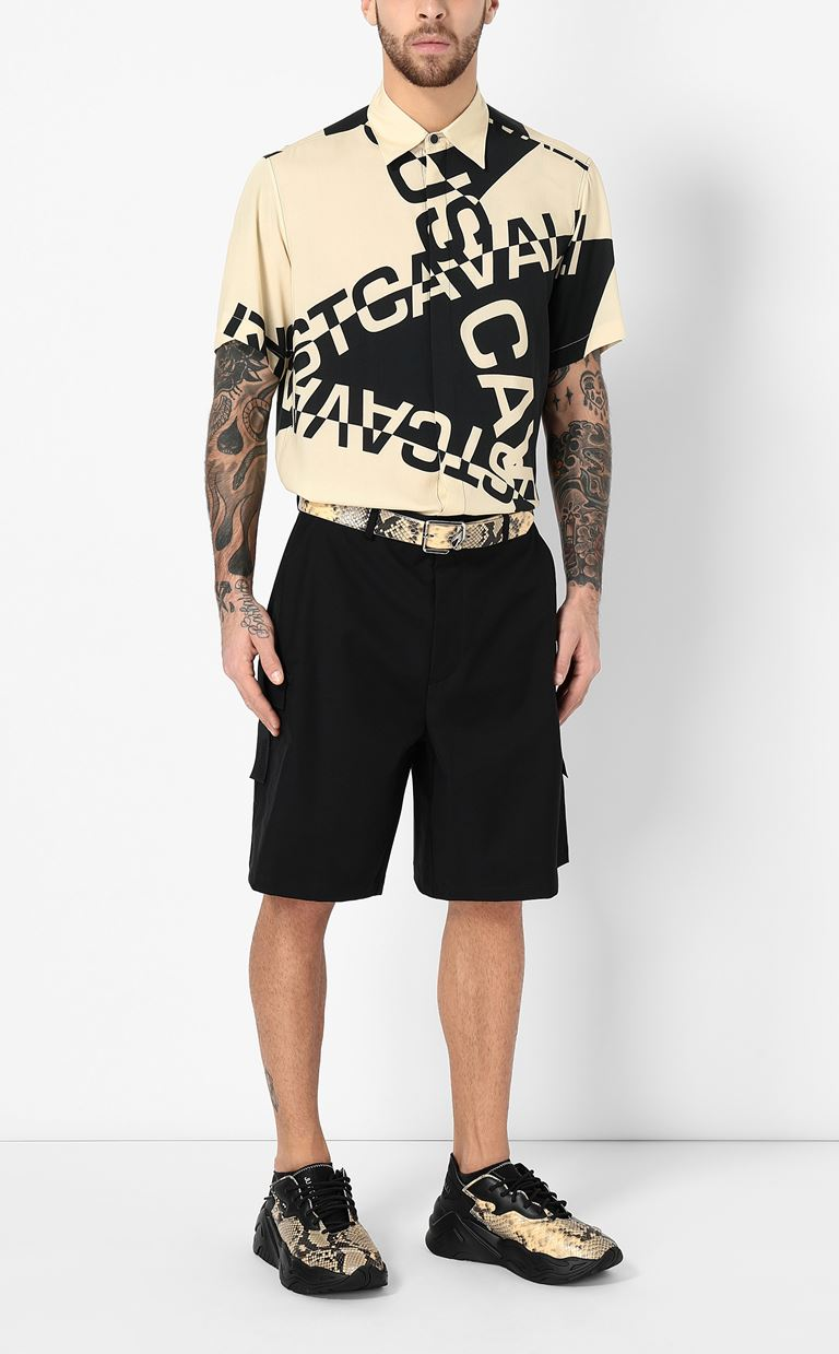 JUST CAVALLI Shirt with logo Short sleeve shirt Man d