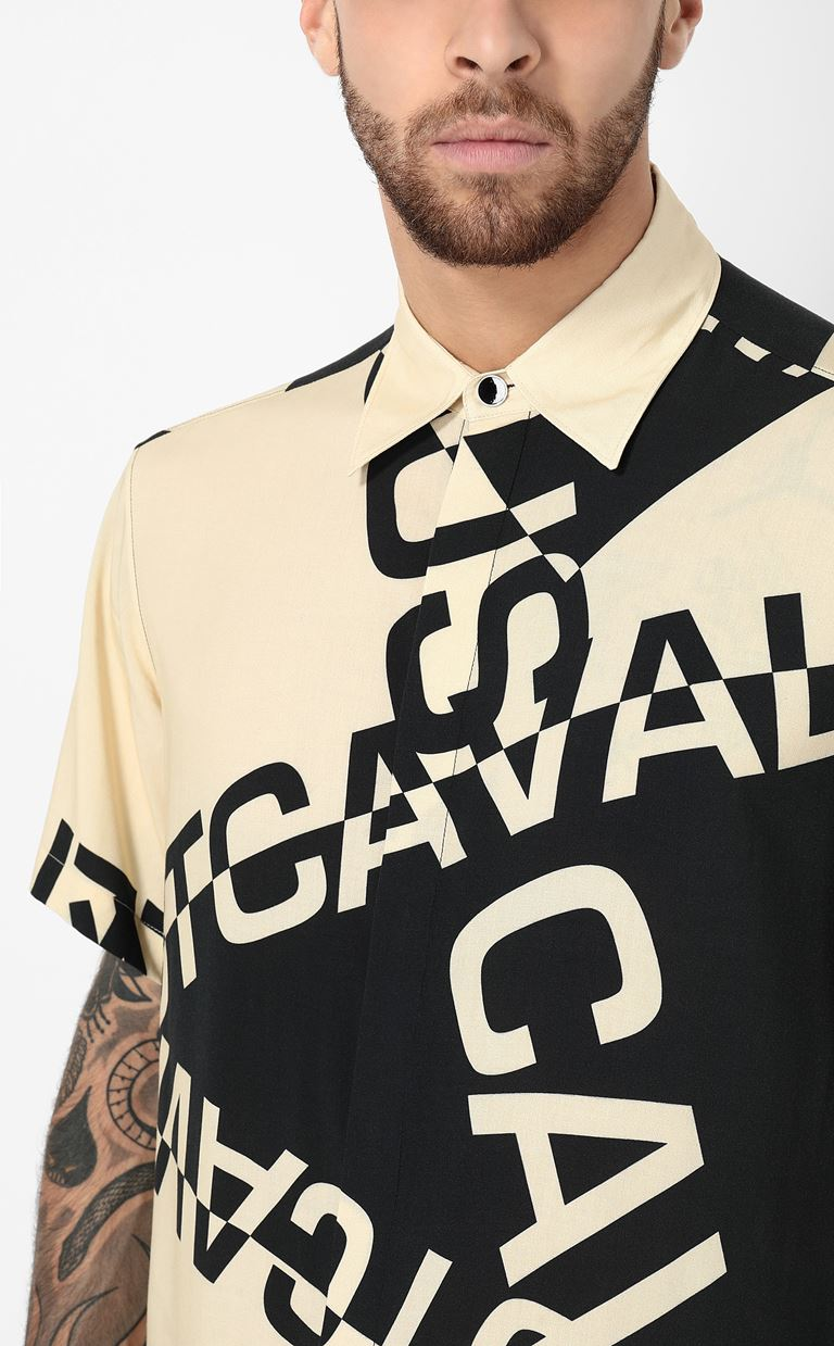 JUST CAVALLI Shirt with logo Short sleeve shirt Man e