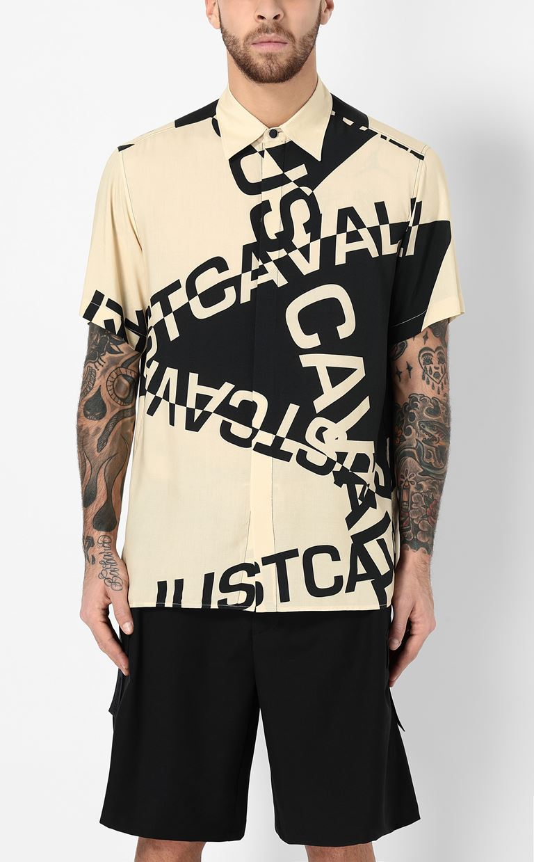 JUST CAVALLI Shirt with logo Short sleeve shirt Man r