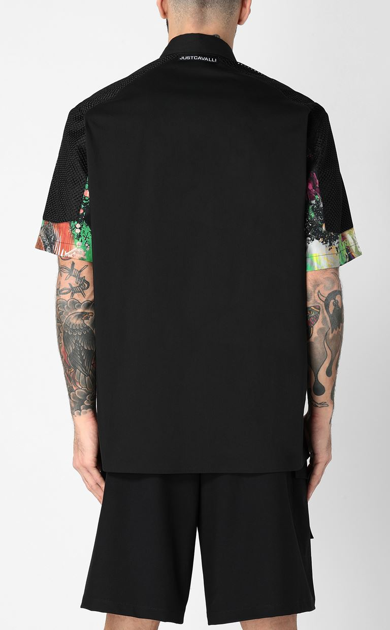 JUST CAVALLI Shirt with print design Short sleeve shirt Man a
