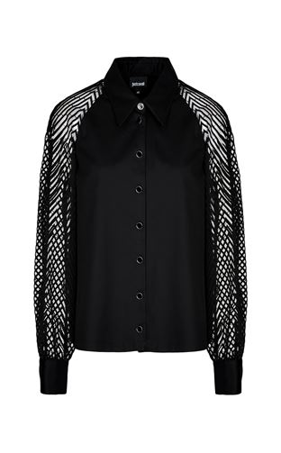 JUST CAVALLI Long sleeve shirt Woman Shirt with transparent sleeves f