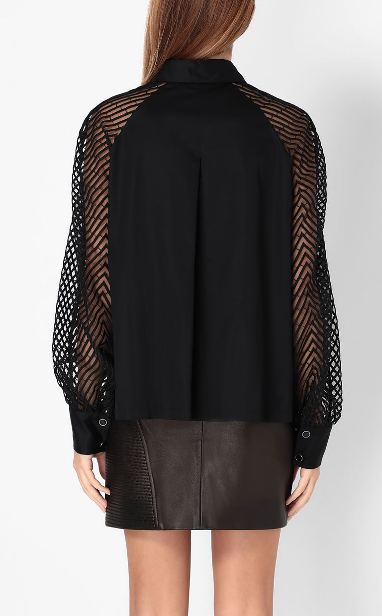 JUST CAVALLI Shirt with transparent sleeves Long sleeve shirt Woman a
