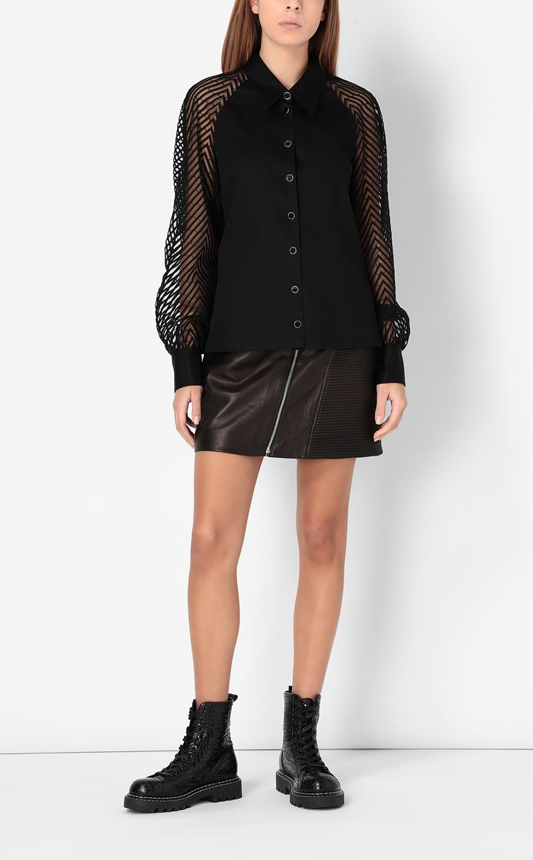 JUST CAVALLI Shirt with transparent sleeves Long sleeve shirt Woman d