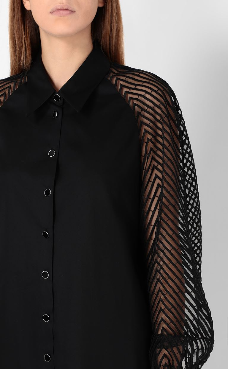 JUST CAVALLI Shirt with transparent sleeves Long sleeve shirt Woman e