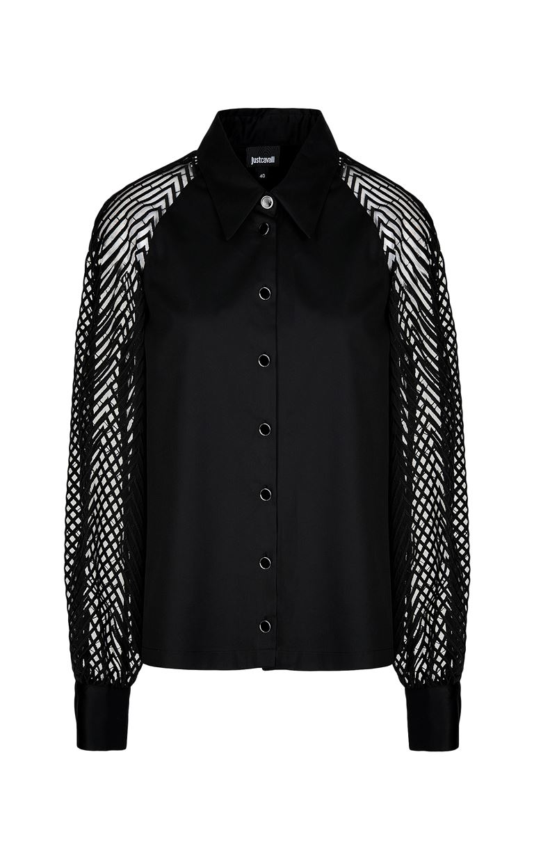 JUST CAVALLI Shirt with transparent sleeves Long sleeve shirt Woman f