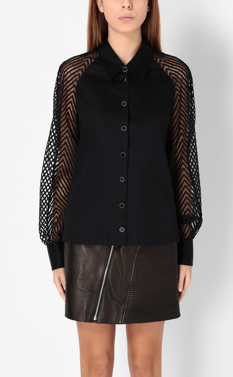 JUST CAVALLI Shirt with transparent sleeves Long sleeve shirt Woman r