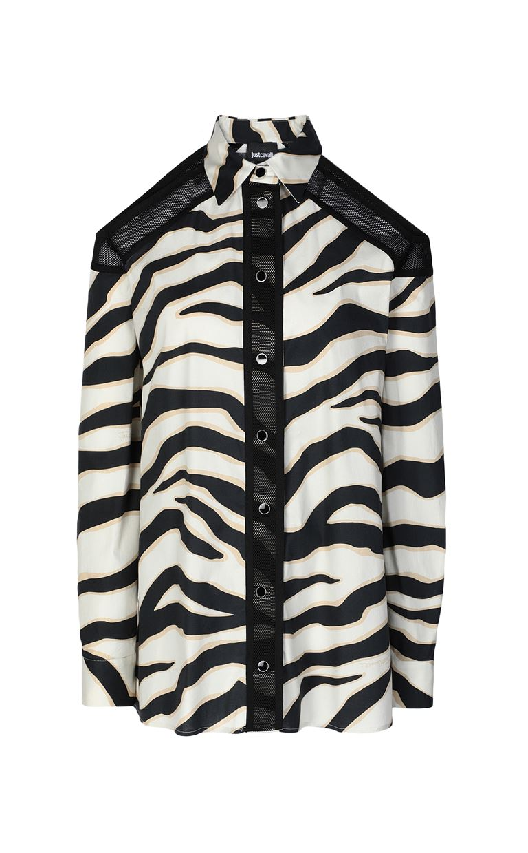 JUST CAVALLI Shirt with a zebra-stripe print Long sleeve shirt Woman f
