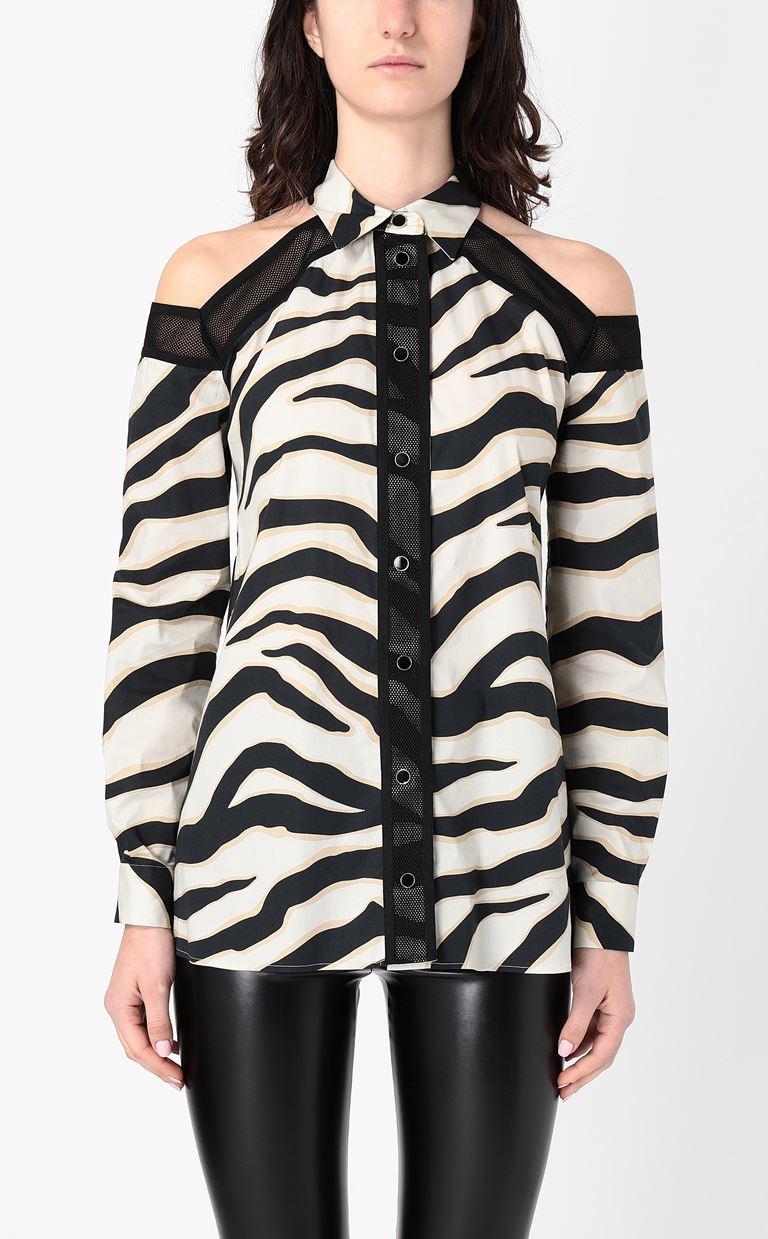 JUST CAVALLI Shirt with a zebra-stripe print Long sleeve shirt Woman r