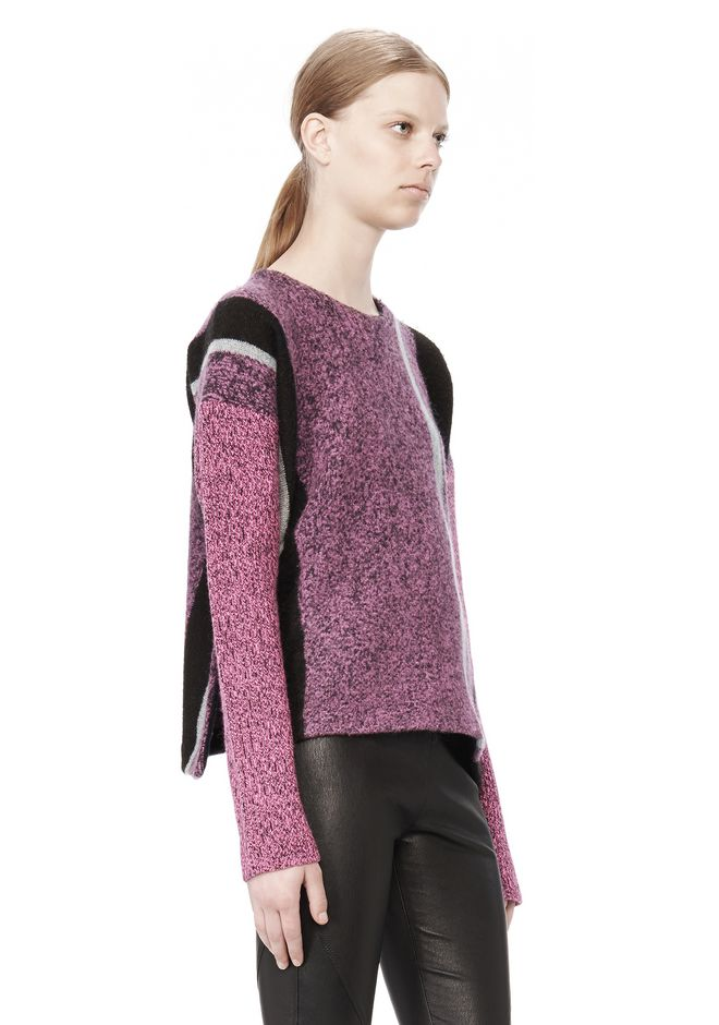 T by ALEXANDER WANG BOILED TWEED CREWNECK BAJA PULLOVER TOP Adult 12_n_a