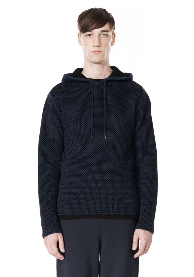 T by ALEXANDER WANG CHENILLE TUCK STITCH PULLOVER HOODIE TOP Adult 12_n_e