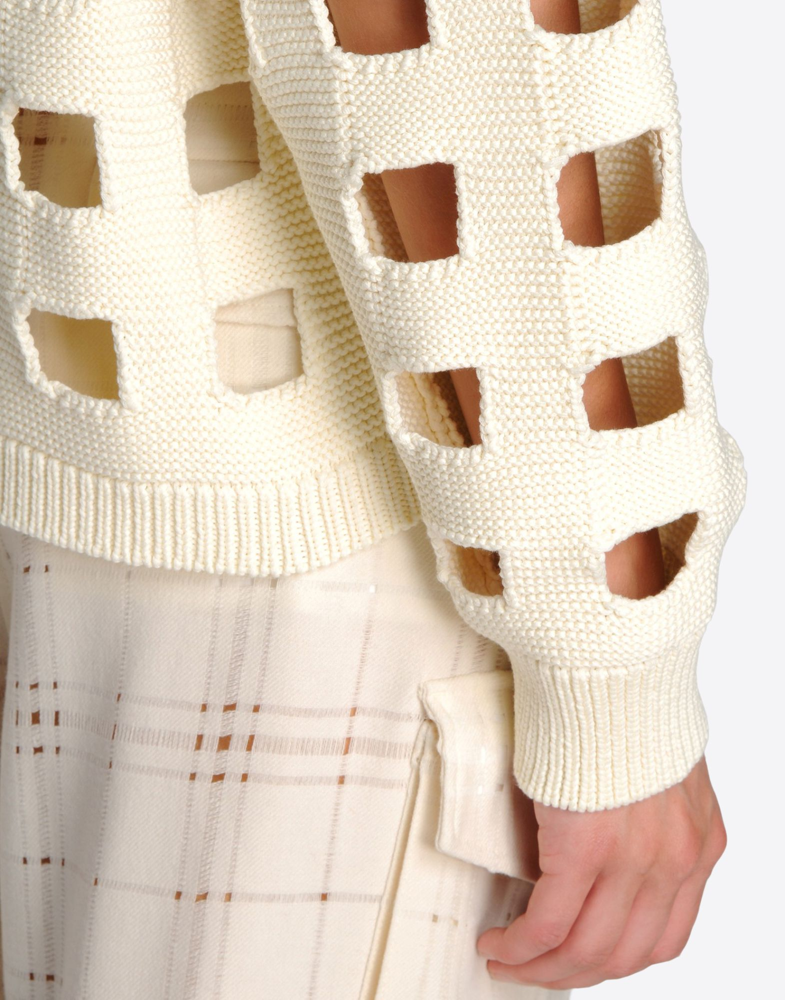 MAISON MARGIELA 1 Knit sweater with cut-out checks Long sleeve sweater Woman a