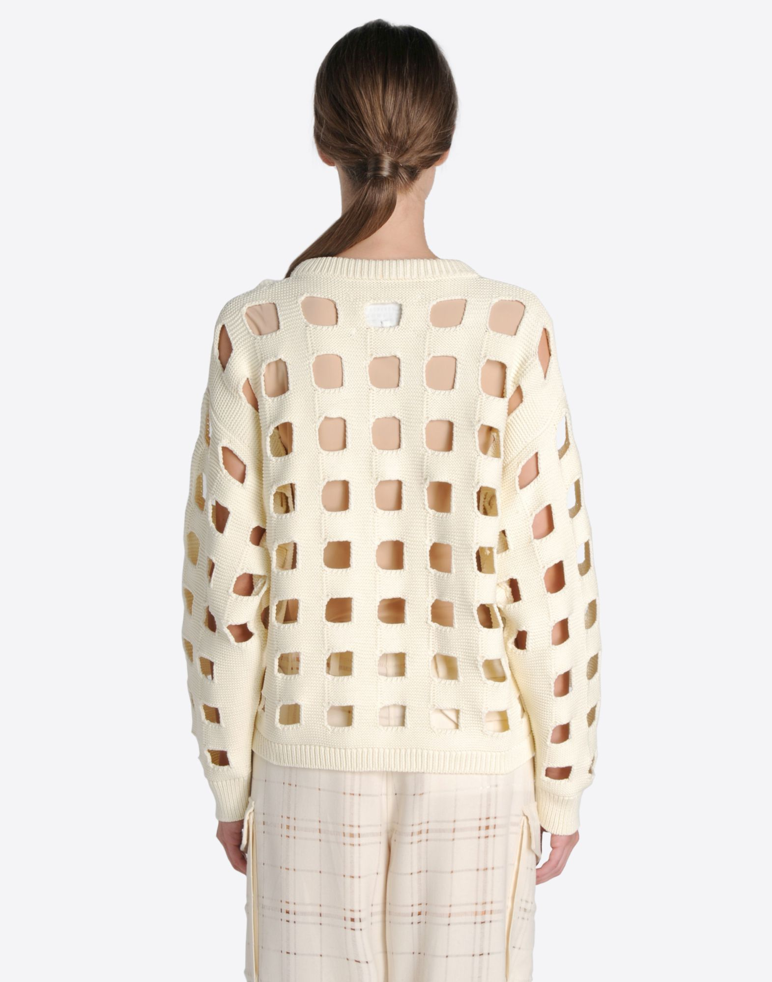 MAISON MARGIELA 1 Knit sweater with cut-out checks Long sleeve sweater Woman d