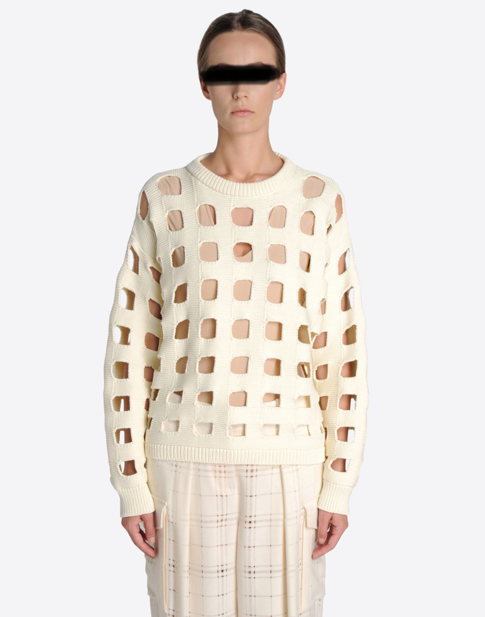 MAISON MARGIELA 1 Knit sweater with cut-out checks Long sleeve sweater Woman f