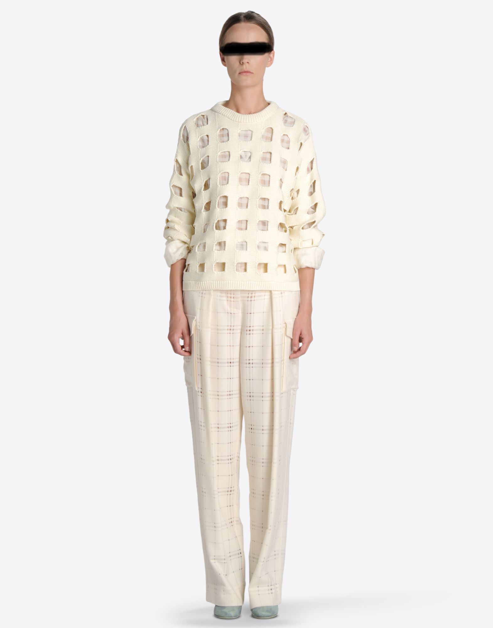 MAISON MARGIELA 1 Knit sweater with cut-out checks Long sleeve sweater Woman r