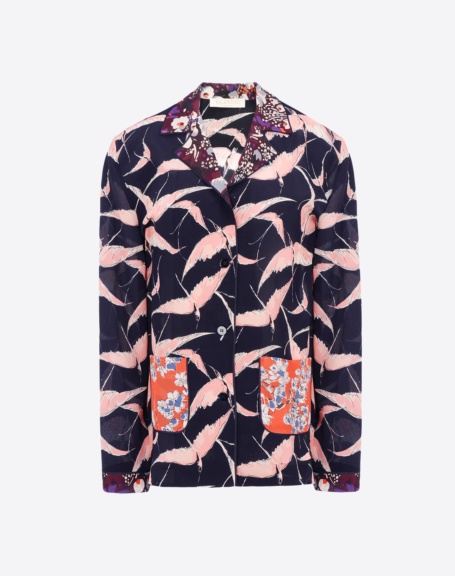 VALENTINO Crêpe Multicolour Pattern Lapel collar Two pockets Button closing Long sleeves  39605964ps