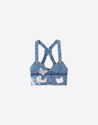 VALENTINO Crop top en denim bordado  39605966TF