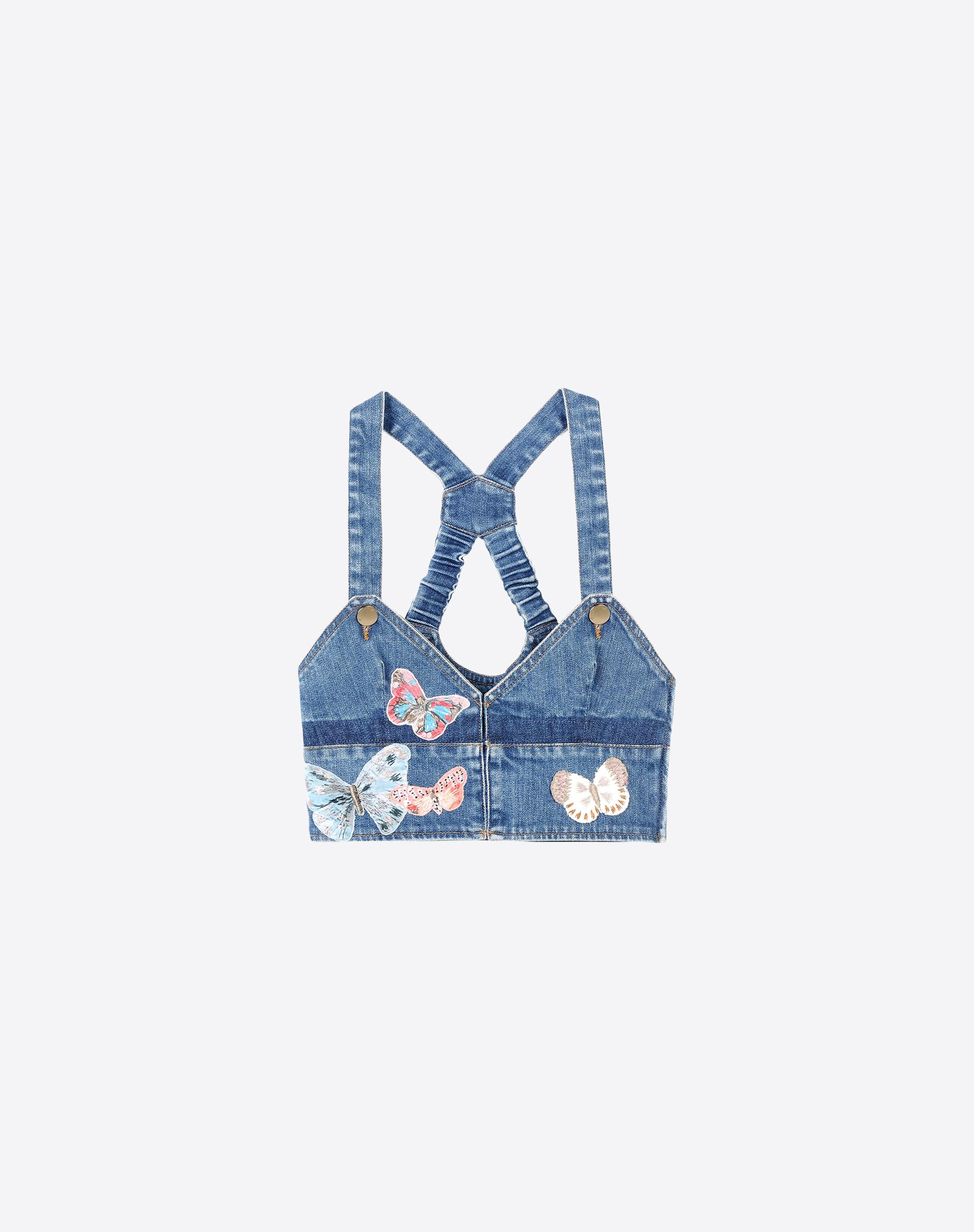 VALENTINO Embroidered detailing Contrasting applications Denim Solid colour Button, zip  39605966tf