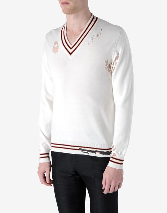 Men V  Neck Maison Sweater Distressed Margiela PFq8z8