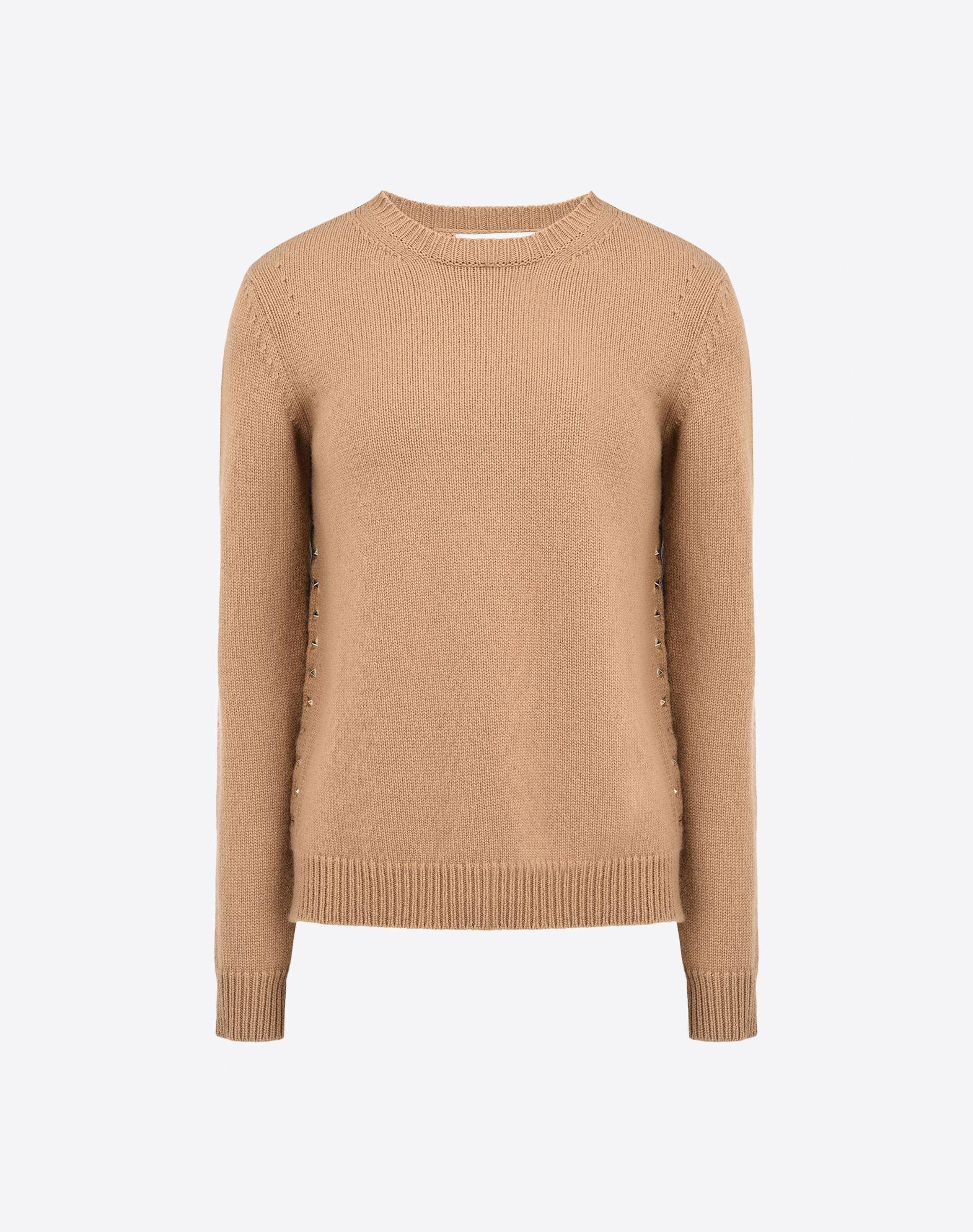 VALENTINO Studs Lightweight knitted Solid colour Round collar Long sleeves Side slit hemline  39635593jj