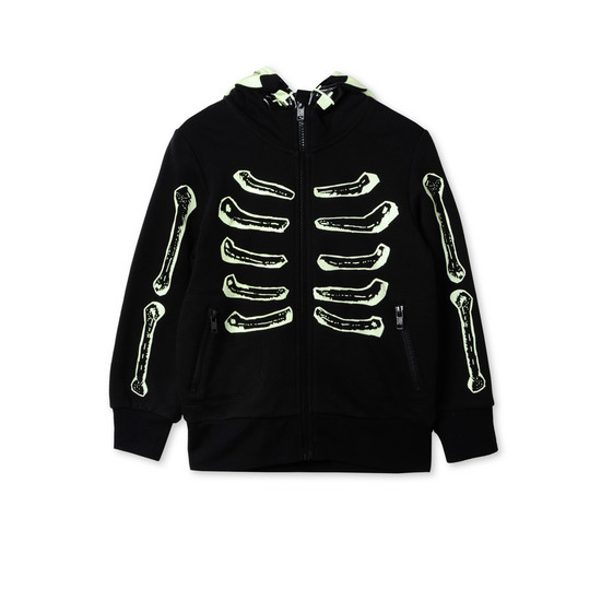 GLOW IN THE DARK l Cardigan Bandit noir avec motif squelette