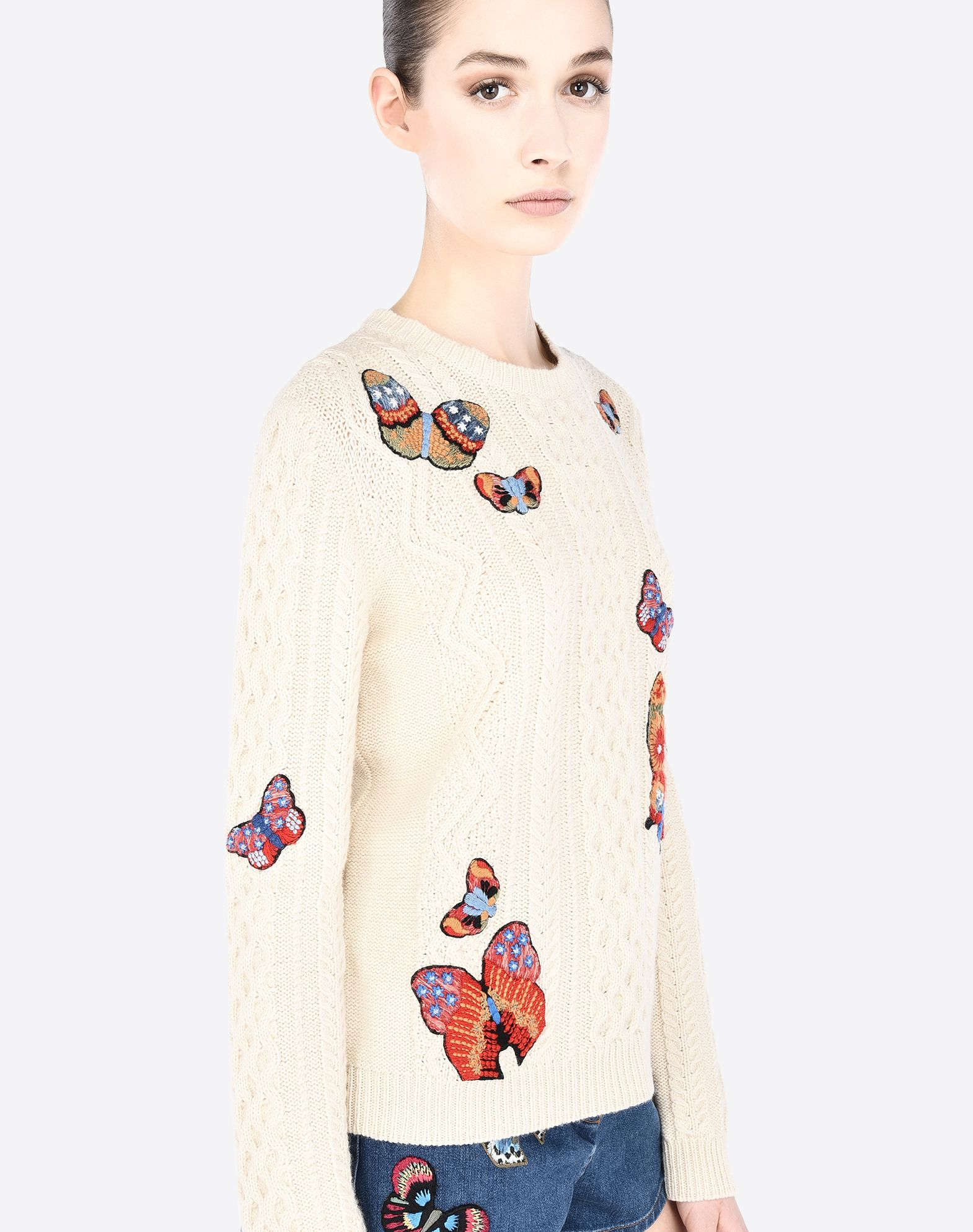 VALENTINO Embroidered detailing Logo Lightweight knitted Solid colour Round collar Long sleeves  39653152pf