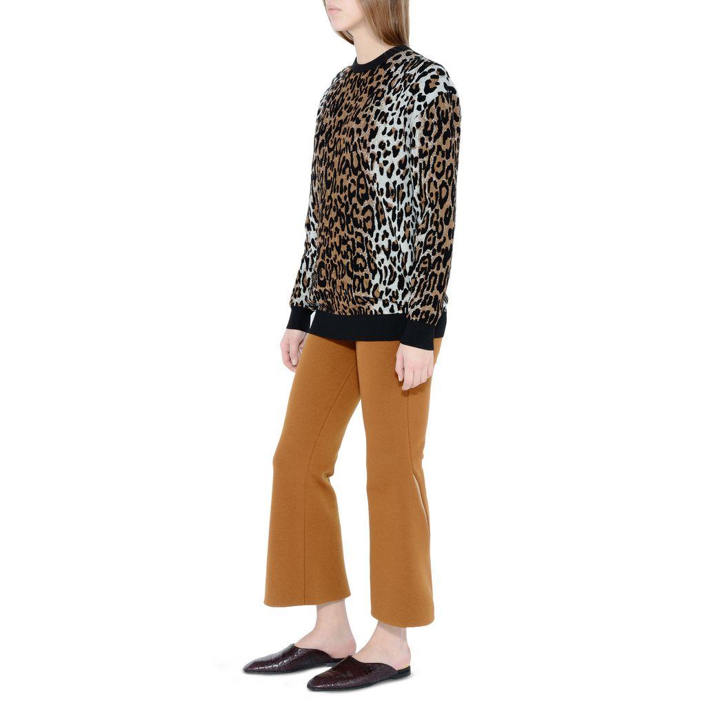 Cheetah Jacquard Crew Neck Jumper  - STELLA MCCARTNEY