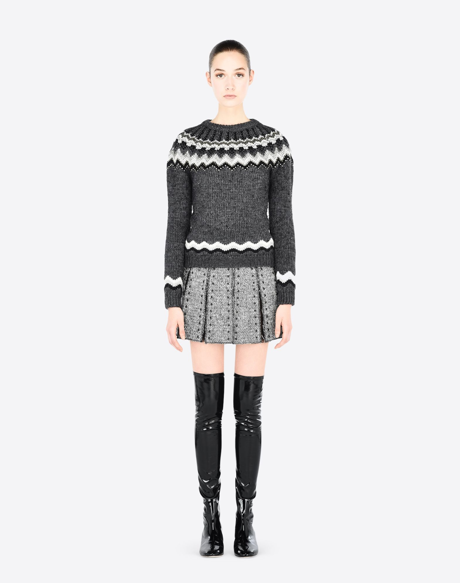 VALENTINO Studs Contrasting applications Lightweight sweater Round collar Long sleeves  39672647ev