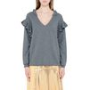 STELLA McCARTNEY Granite Felted Frills Jumper V Neck D d