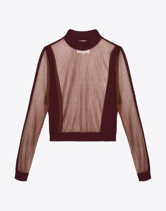 MAISON MARGIELA Sheer wool blend top Long sleeve sweater D f