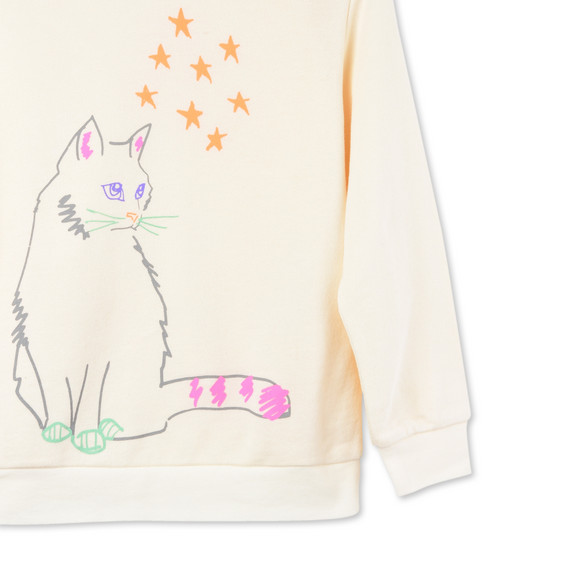 Cream Betty Cat Print Sweatshirt