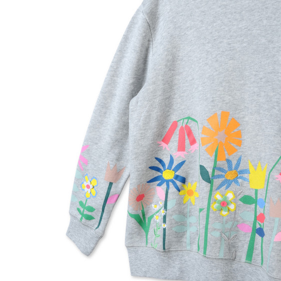 Sweat-shirt Betty gris à imprimé graphique à fleurs