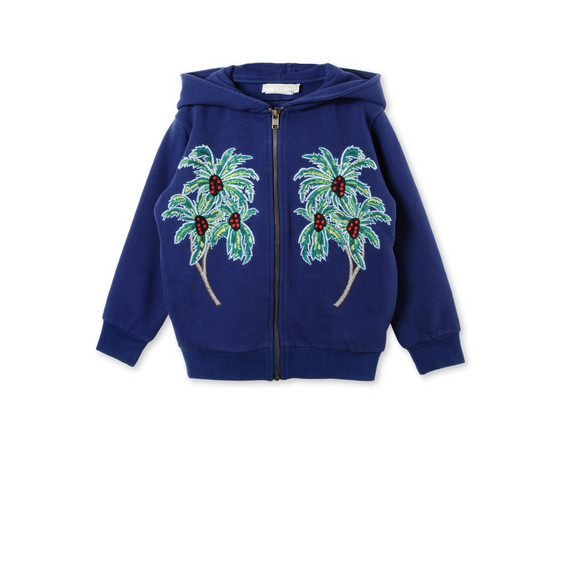 Blue Palm Print Joplin Sweatshirt