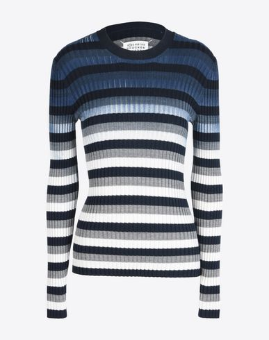 MAISON MARGIELA 1 Long sleeve sweater D Hand-painted rib knit sweater f