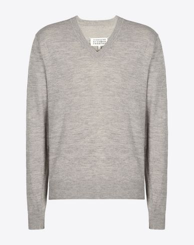 MAISON MARGIELA 14 V-neck U Fine wool pull-over with elbow patches f