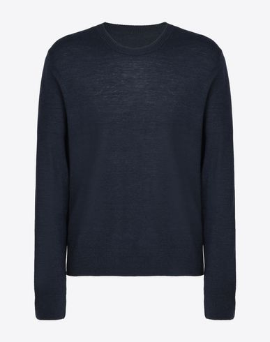MAISON MARGIELA 14 High neck sweater U Fine pull-over with elbow patches in denim f
