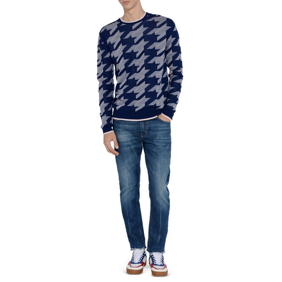 Blue Light Arrow Jacquard Jumper