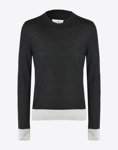 MAISON MARGIELA 14 Crewneck sweater U Fine pull-over with elbow patches f