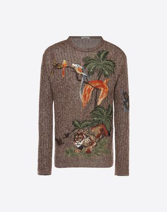 VALENTINO CUBAN BOXES EMBROIDERED LINEN JUMPER 39713019PV