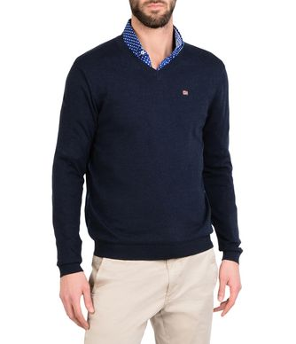 NAPAPIJRI DENDRE MAN V-NECK SWEATER,DARK BLUE