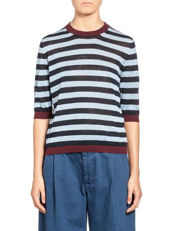 Marni Knit in striped cotton and linen Woman