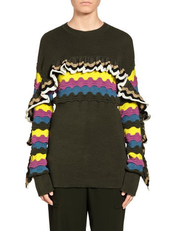 Marni Stripe-and-ruffle knit in cotton Woman