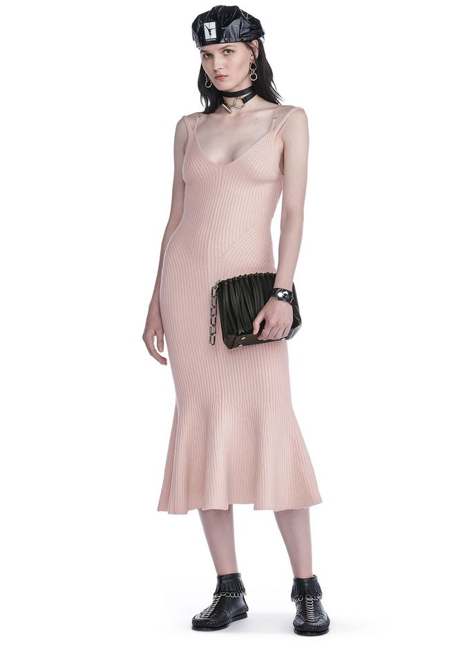 ALEXANDER WANG KNIT DRESSES RIBBED TANK DRESS WITH LINGERIE BRA STRAP DETAIL