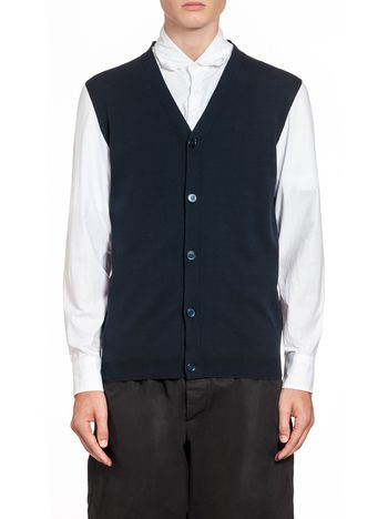 Marni Cotton cardigan with poplin sleeves Man