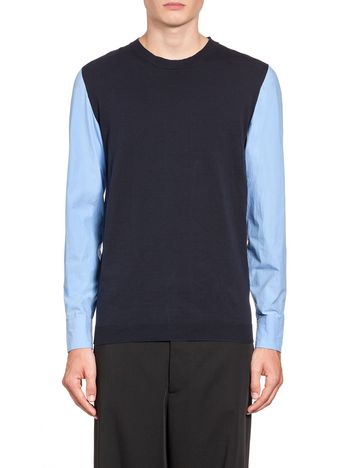 Marni Cotton knit with poplin sleeves Man