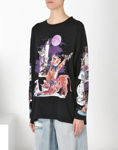 MM6 by MAISON MARGIELA Long sleeve t-shirt D Cat print T-shirt f