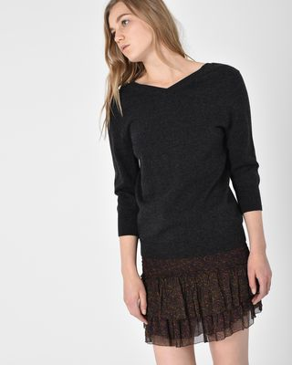 Kizzy V neck cotton and wool sweater